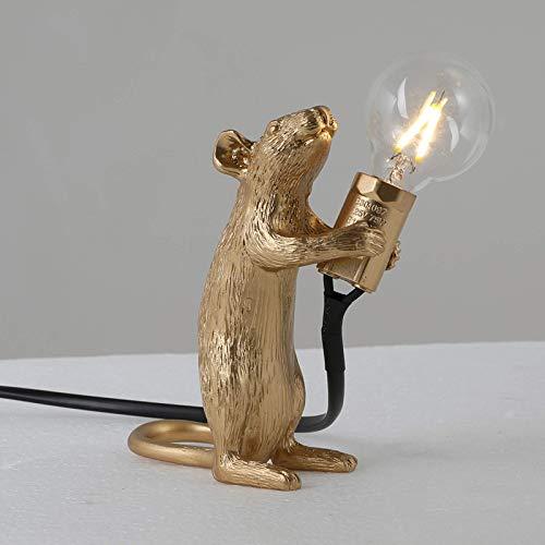 Rnwen Lámpara de Escritorio Lámpara de Mesa de Resina con Forma de ratón, lámpara de Mesa para la decoración de la cabecera de la habitación del hogar (Color:Sentado, Tama?o:Blanco)