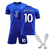 HFGD Camisa de fútbol Pulišić 10 Kit de Jersey de fútbol Adulto, Juego de Camiseta del Juego del Estadio, Sudaderas Infantiles Camisetas Pantalones Cortos Calcetines, equ Blue #10-M