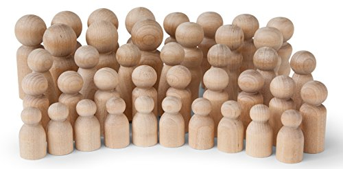 Natural Unfinished Wooden Peg Doll Bodies