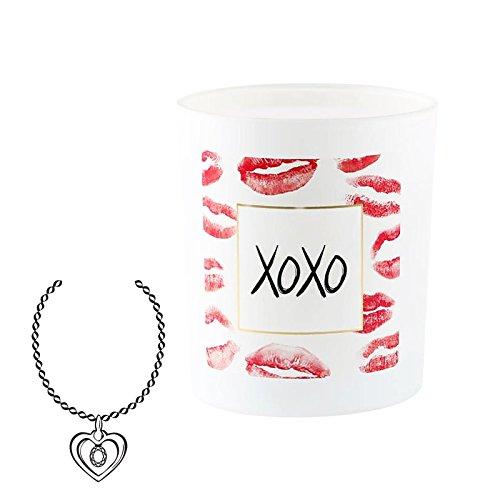 JewelCandle XOXO - Bougie parfumée avec Bijou colier Surprise en Argent véritable, Parfum Fleuri Patchouli-Jasmin, édition Speciale Saint Valentin