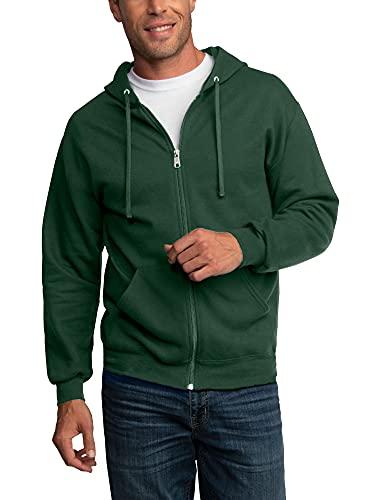 Fruit of the Loom Men's Eversoft Fleece Sweatshirts & Hoodies, Full Zip-Dark Green, Medium