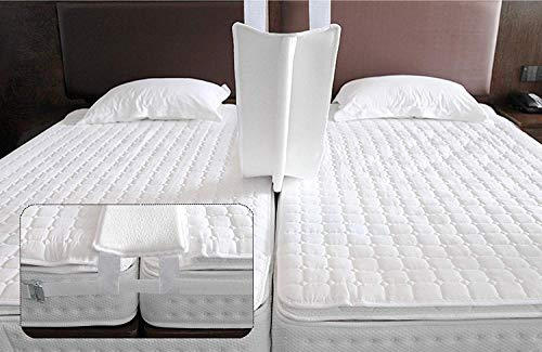 Qucover Ponte per Due Materassi Singoli 200x20cm, Ponte Letto Matrimoniale con Cinghia, Unisci Materasso, Connettore Materasso in Spugna, Bed Bridge for King-Size Bed, Bed Connector Strap 10M