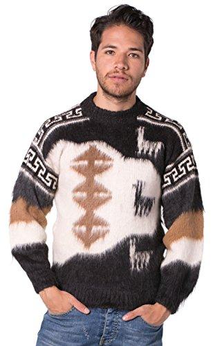 Gamboa - Alpaka Pullover für Herren - Handgefertigt Pullover - Llamas, Schwarz, XL