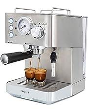 IKOHS Cafetera KAFFETA ESPRESS - Cafetera Espress Semiautomática para Espresso y Cappuccinos, Presión 20 Bares, Capacidad 1,25 L, 1100W, Vaporizador Orientable, Acabado Acero Inoxidable (Plateado)