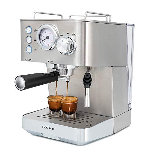 IKOHS Create Cafetera THERA Classic - Cafetera Espress Semiautomática para Espresso y Cappuccinos, Presión 20 Bares, Capacidad 1,25 L, 1100W, Vaporizador Orientable, Acero Inoxidable