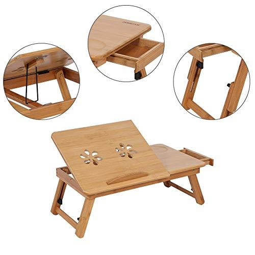 MAGT Laptop Bureau, 1Pc Bamboe Laptop Bed Tafel Draagbare Verstelbare Laptop Stand Rack Plank Slaapzaal Bed Lap Bureau Met Lade