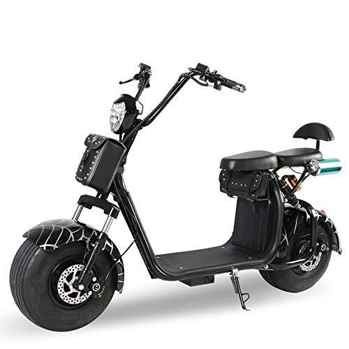 WWWNYY Pedal Adulto, Motocicleta eléctrica, Viaje al Aire Libre, Viaje, Viaje, 60 V, batería de Larga duración, batería de 12A, actualización, 20A, Coche eléctrico Harley,Negro