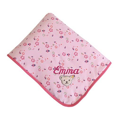 Steiff Babydecke mit Ihrem Wunsch Namen Bestickt Glückskäfer und Blümchen rosa 90 cm x 60 cm Namensdecke als Babygeschenk personalisiert Almond Blossom