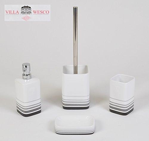 WESCO Villa Keramik Edelstahl Bad Set Seifenspender Klobürste Badgarnitur Weiss