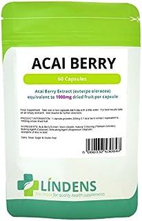 Lindens puro Baya de Acai 1000mg Extracto 2-PACQUETE 120 Cápsulas Antioxidante
