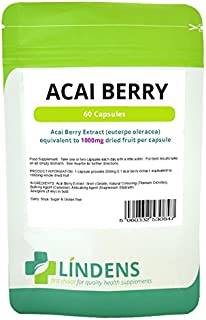 Lindens Pure Acai Berry Extract 1000mg DOUBLE PACK 120 Capsules Antioxidant