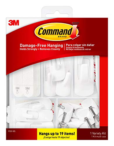 Command, Indoor Use, Includes Picture Strips, Utility, Wire Hooks General Purpose Variety Kit, 17231-ES, Hangs Up to 19 Items