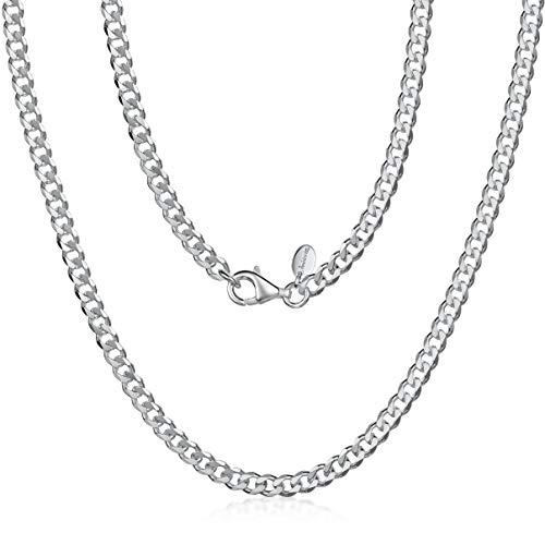 Amberta 925 Sterling Silber Halskette für Herren - Rhodiniert - Flache Panzerkette3.7 mm – 50 cm