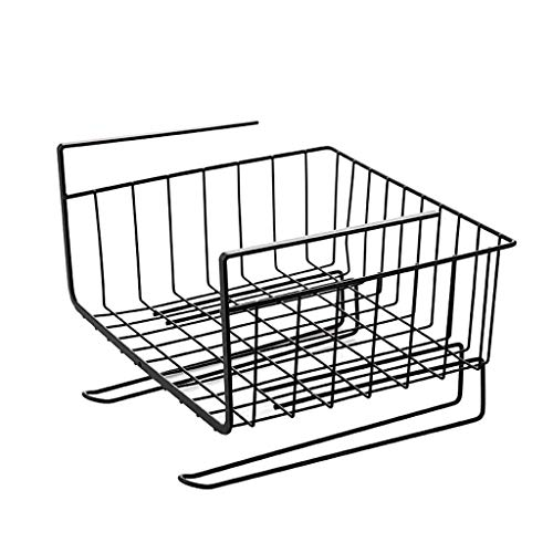 Planken Nder Shelf Table Storage Basket, Keuken Wire Mesh Onder kabinet Organizer Mand Met twee haken for keukengerei Pantry Bureau Bookshelf Kast (Kleur: Wit), Kleur: Zwart Flower Pot Rack XIUYU