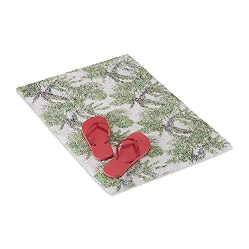 Relaxdays badmat bladeren, rechthoekig, badmat antislip, katoen en polyester, 50 x 80 cm, badmat, wit-groen