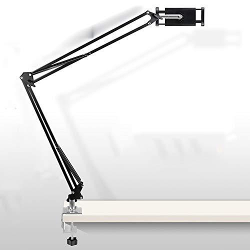CKR Tableta De Metal Y Soporte Móvil, Adecuado para 4-13.5 Pulgadas De Superficie Pro 4, BQ Aquaris, Muchos Articulados De Múltiples Ángulos De Xiaomi Amplia Ajustable,Negro