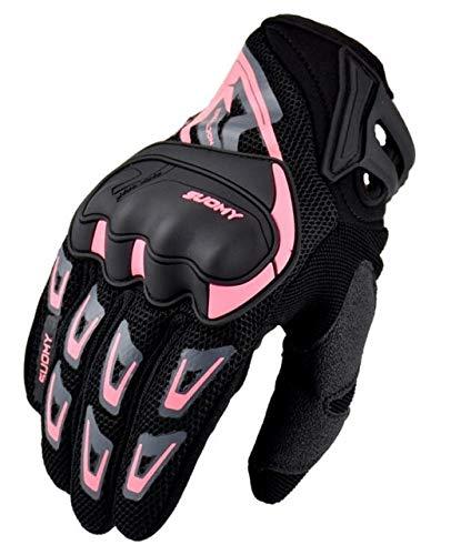 Guante de Motocross con Pantalla táctil de Verano, Guante de Motocross Transpirable de Malla de Dedo Completo, Guantes de Moto MTB para Dirt Bike-SU11-Pink-2-M