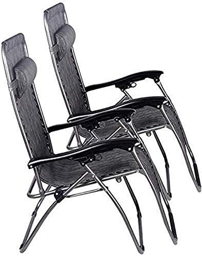 Tumbona de jardín - Tumbona plegable - Juego de 2 tumbonas plegables reclinables, silla de patio de gravedad cero, tumbonas reclinables al aire libre, playa, camping, césped, silla ajustable Almacén