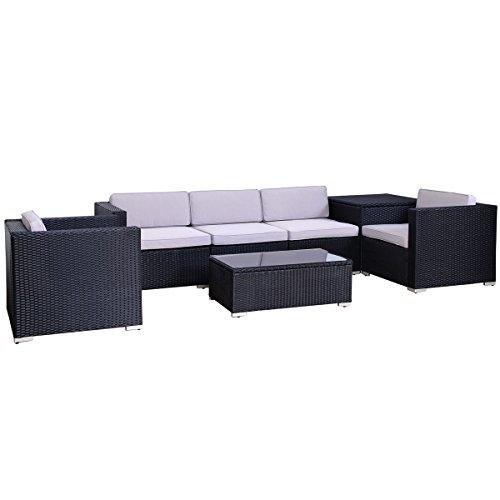 Svita Del Sol POLY RATTAN Lounge Gartenset Sofa Garnitur Polyrattan Gartenmöbel Kissenbox (Schwarz)