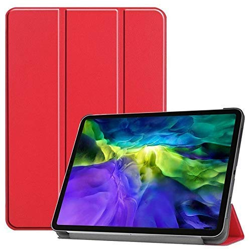 2019 8.0' Galaxy Tab A Cover,Jennyfly Tri-fold Two Ways Multiple Viewing Angles Stand Case Slim PU Leather Corner Protection Cover for 2019 Samsung Galaxy Tab A 8.0(SM-P200/P205) -Red