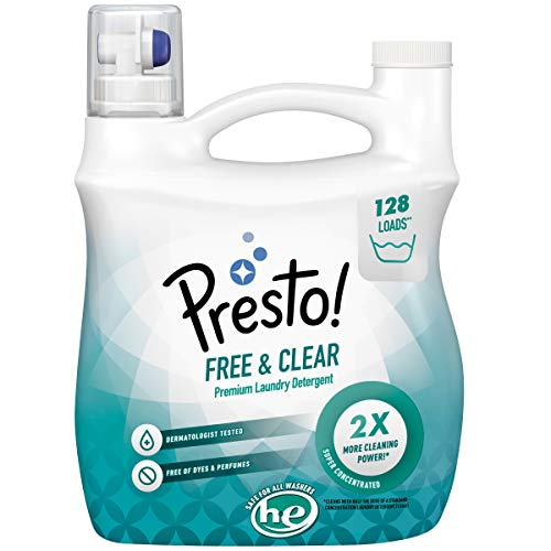 Presto! Concentrated Liquid Laundry Detergent, Free & Clear, 128 Loads, 96 Fl Oz