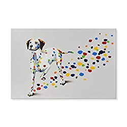 funny oil paintings - funny colorful dog