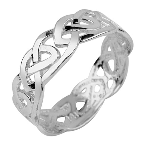 Stunning Sterling Silver Celtic Wedding Band Trinity Knot Eternity Ring (10)