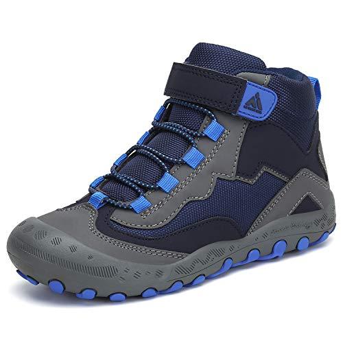 Mishansha Kinder Wanderstiefel High Top Wasserdicnt Bequeme Trekkingschuh Leichtes Schuhe für Mädchen Rutschfeste Outdoorschuhe Junge Komforbable Walkingschuhe Blau 38 EU