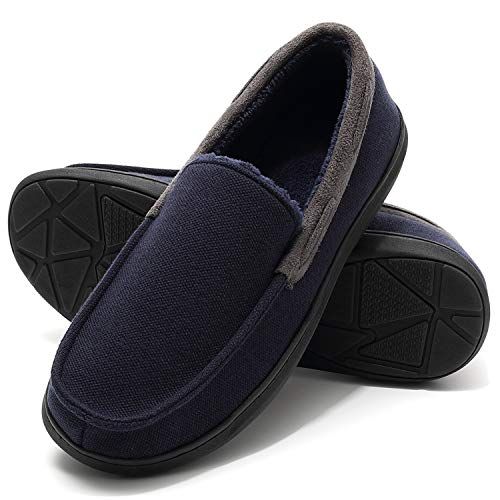 Home Slippers for Men, Memory Foam Non-Slip Bedroom Mule Slippers for Winter Navy Blue Size 8