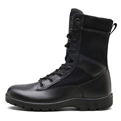 MERRYHE Bottes Militaires Tout Terrain pour Hommes, Bottillons à Lacets, Bottes de Combat dans Le désert, Chaussures d'escalade de Sports de Plein air, Chaussures de Trekking et de randonnée,Black-45