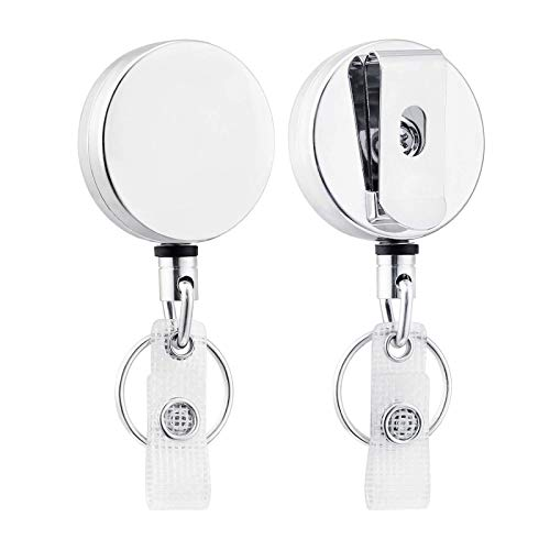 Heavy Duty Retractable Badge Holder Reel, Metal ID Badge Holder with Belt Clip Key Ring forI ID Card Keychain [ All Metal Casing, Reinforced Id Strap, Steel Wire Cord Reel 27.5 inch ] 2 Pcs Silver