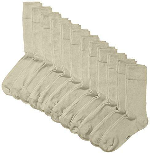 Marque Amazon - Hikaro Chaussettes pour Hommes, lot de 12, beige (beige chiné 792), 39/42 (précédemment sous la marque MyWay)