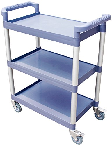New Star Foodservice 54545 250-Pound Plastic 3-Tier Utility Bus Cart with Locking Casters, 32 by 16 by 38-Inch, Gray