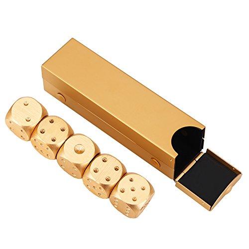 Würfel Box Set mit 5 Stücke Würfel Tisch Poker Spiel Set Unterhaltung Spielzeug Glücksspiel Würfel Weihnachtsfeier Geschenke(Quader-Gold)