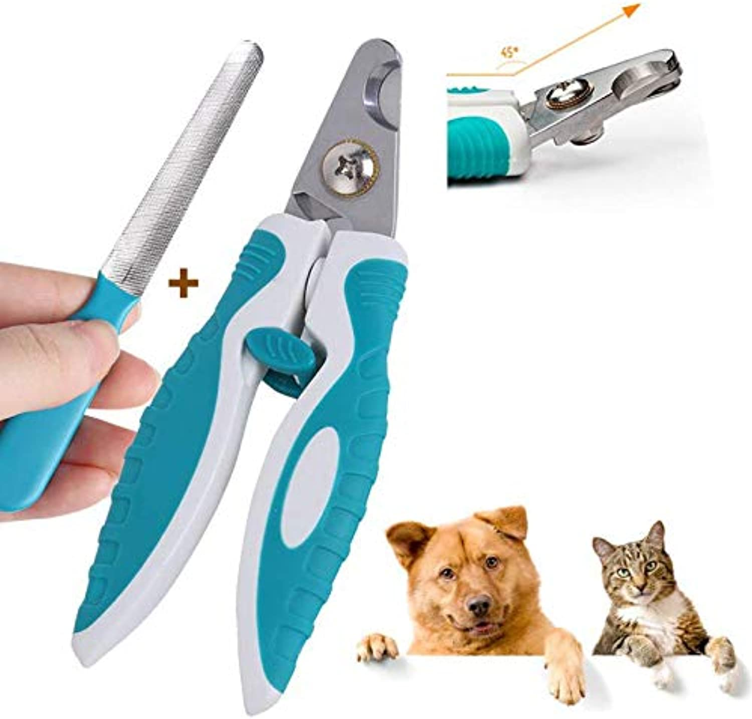 Pet Nail Clipper, Stainless Steel Trimmer Professional Beauty Suitable for Medium and Large Dogs and Cats Including Free Nail Files