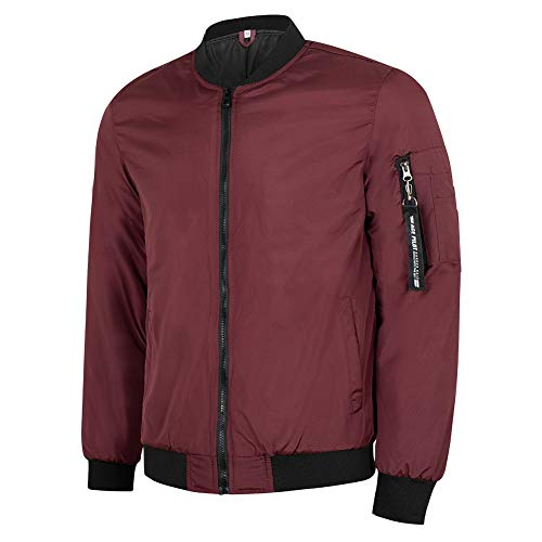 MADHERO Mens Bomber Jacket Quilted Lightweight Winter Outerwear Coat Burgundy S