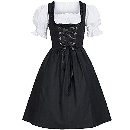 SuperSU Damen Dirndl Komplettsets Stickerei Trachtenkleid Kleid Bluse Schürze Oktoberfest Frauenkostüm Midi Trachtenkleid für Bayerisches Spitzen Kleid Bluse Schürze Spezielle Anlässe