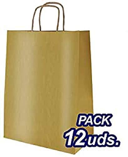 CRISCOLOR Bolsa papel color oro metalizado 32x41x12cm. Pack