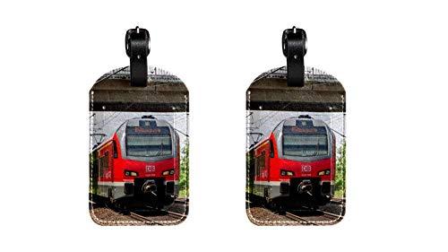 2 Stücke Regionalzug Hochwertige PU-Leder-Gepäckanhänger Kindertaschenanhänger Reise-ID-Etiketten Tag Damen High-End-Design Herren-Gepäckanhänger für die Schiffsreisen
