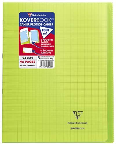 Clairefontaine 981403C Un Cahier Agrafé Koverbook Vert - 24x32 cm 96 Pages Grands Carreaux Papier Clairefontaine Blanc 90 g - Couverture Polypro