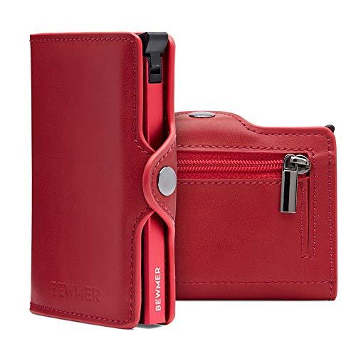 BEWMER Billetera para Tarjetas de crédito Delgada con protección de Cerradura RFID Porta Tarjetas rígido anticontracción y Monedero con Sistema de Bloqueo de Tarjetas anticaída (Rojo Monedero)