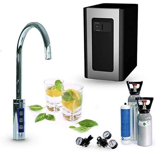 SPRUDELUX Untertisch-Trinkwassersystem Blue Diamond inklusive 3-Wege-Zusatzarmatur C-Auslauf Inkl. Filtereinheit. Profi-Wassersprudler für den Privathaushalt. Spritziges Mineralwasser (Mit 6 Kg CO2)