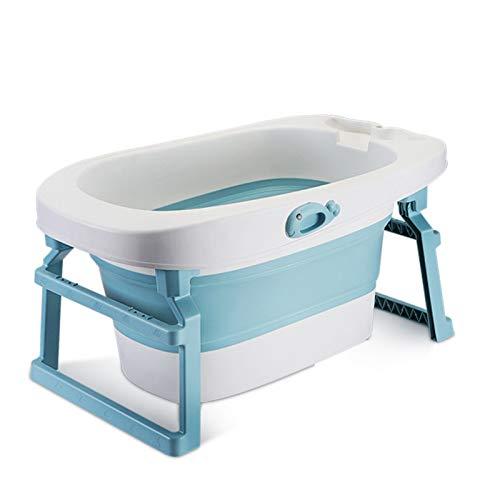 Bañera para bebés, bañera plegable para niños pequeños, lavabo portátil para ducha infantil, temperatura inteligente, drenaje doble, para bebés recién nacidos y niños de 15 años (azul)