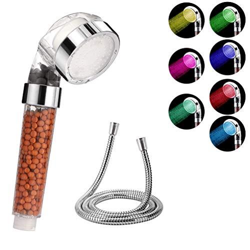 Usetcc LED Duschkopf mit Schlauch, Hochdruck Duschkopf mit automatisch Wechselnden 7 Farben, Ohne Bohren Wassersparenden Druckerhöhenden Duschkopf Universeller Duschkopf