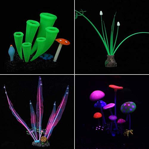 yidenguk Fish Tank Dekorationen, 4 pc-Aquarium Dekorationen silikon Glow Fish Tank zubehör Simulation