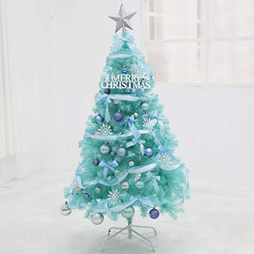 glzcyoo Unlit Blue Artificial Christmas Tree, Hinged Spruce Full Tree With Metal Stand, 100% New PVC Material, Xmas Tree For Indoor And Outdoor Decoration (Color : 1.8m)