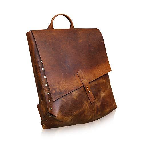 KALATING Mens Womens Real Top Grain Leather Backpack Rucksack Laptop Shoulder Vintage Bag College Office/Up to 15 inch Laptop/Brown