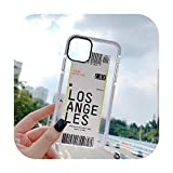 Air Plane Ticket Anti Knock Phone Case for iPhone 11 11Pro X Xs Max Xr 7 8 Plus Bar Code Boarding Pass Shockproof Case-Los Angeles-for iPhone 8 Plus