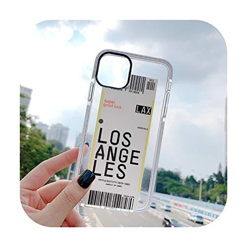 Funda antigolpes para iPhone 11, 11Pro, XS, Max, XR, 7, 8 Plus, código de barra, tarjeta de embarque, a prueba de golpes, funda, silicona, Los Angeles, For iPhone 11ProMax