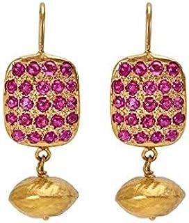 Gehna Yellow Gold, Drop Earrings for Women